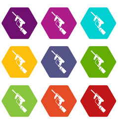 paintball gun charging icons set 9 vector image