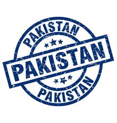 Pakistan blue round grunge stamp vector