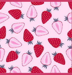 Pattern with strawberry on pink vector