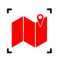 pin on the map red icon inside black vector image vector image