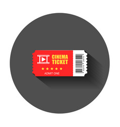 Realistic cinema ticket icon in flat style admit vector