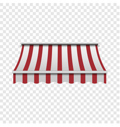 Red and white awning mockup realistic style vector