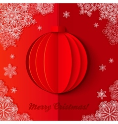 Red origami paper Christmas ball vector image