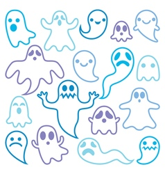 Scary ghosts design Halloween characters icons vector image