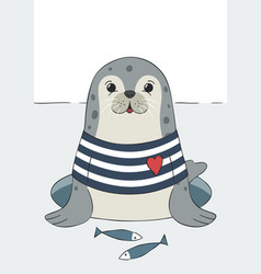 Seal cute sea lion animal in sailor t-shirt vector
