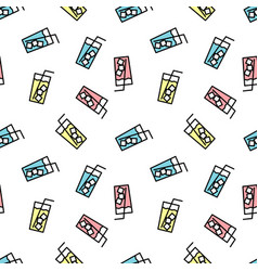 seamless pattern with lemonades cartoon cute vector image