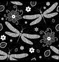 Seamless pattern with silver dragonflies and vector