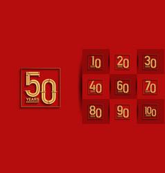 Set anniversary logo style with golden premium vector