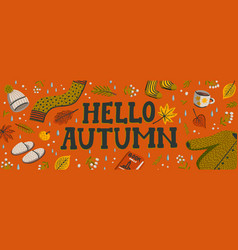 Set autumn icons sweater falling leaves vector