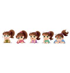 set cartoon cute girls face emotions vector image