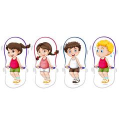 set children skip rope vector image