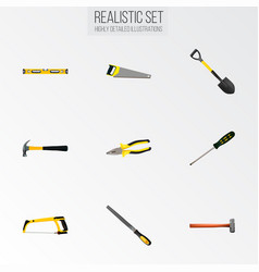 Set of instruments realistic symbols with tongs vector