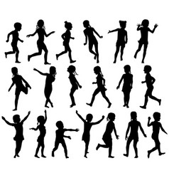 Set silhouettes children jumping running vector