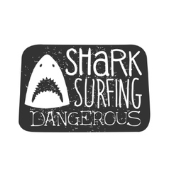 Shark Head With Open Mouth Summer Surf Club Black vector image