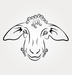 sheep head isolated on white background vector image