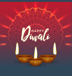 Shiny diwali festival greeting background with vector