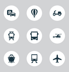 shipment icons set collection of chopper road vector image