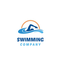 Simple swimming pool silhouette water wave logo vector