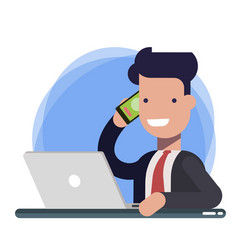 smiling man talking on mobile phone while using vector image