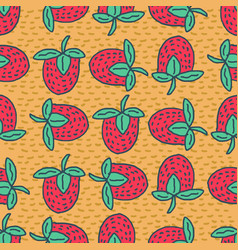 strawberry drawing pattern red juicy berry vector image