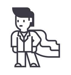 super hero businessman business line icon vector image vector image