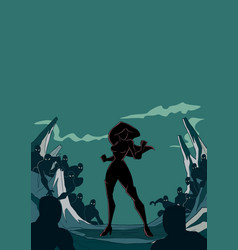 superheroine ready for battle silhouette vector image