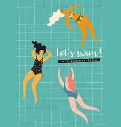swimming women design vector image