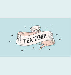 tea time vintage ribbon vector image