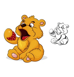 teddy bear eats raspberries vector image