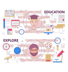 Thin line flat design education and explore vector