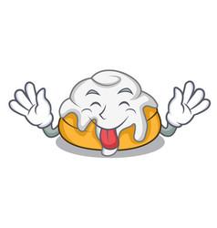 Tongue out cinnamon roll mascot cartoon vector
