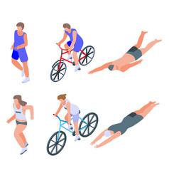 Triathlon icons set isometric style vector