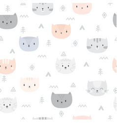Tribal seamless pattern with cartoon cats vector