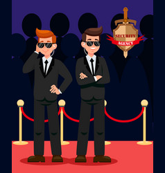 Two bodyguards on red carpet cartoon characters vector