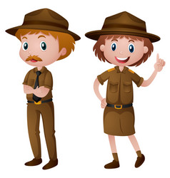 Two park rangers in brown uniform vector