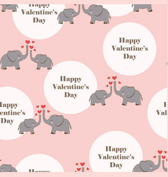 valentines pattern with elephants vector image