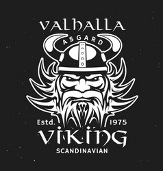 viking head in horned helmet valhalla asgard vector image