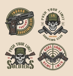 vintage military and army colorful badges vector image
