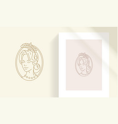 Vintage woman in oval frame silhouette linear vector