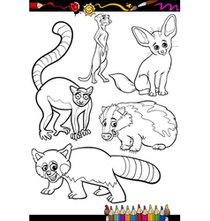Wild animals set for coloring book vector