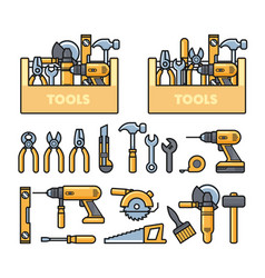 work tools icons - toolbox puncher drill wrench vector image