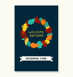 wreath of autumn leaves banner of autumn season vector image