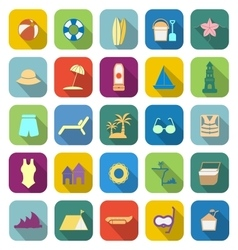 Beach color icons with long shadow vector