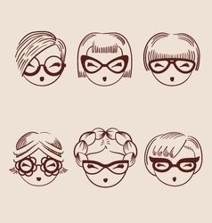 Fashion girls in glasses icon set hand drawn eps vector