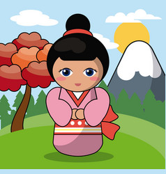 kokeshi doll japanese landscape image vector image vector image