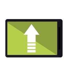mobile phone upload arrow gadget vector image
