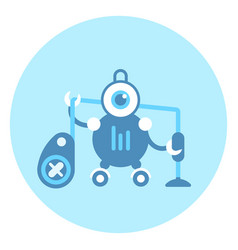 robot holding vacuum cleaner icon modern housework vector image