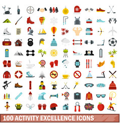 100 activity excellence icons set flat style vector image