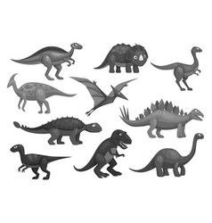 cartoon dinosaurs icons set of jurassic characters vector image vector image