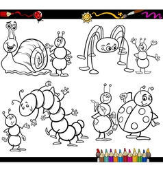 funny insects set for coloring book vector image vector image